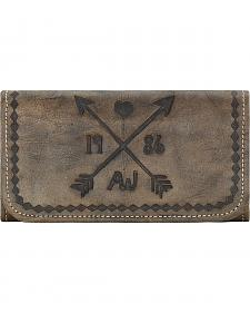 American West Cross My Heart Rustic Brown Ladies Tri-Fold Wallet