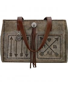 American West Charcoal Brown Cross My Heart Shopper Tote