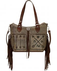 American West Charcoal Brown Cross My Heart Zip Top Convertible Tote