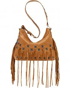 American West Golden Tan River Ranch Slouch Zip Top Shoulder Bag