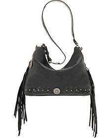 American West River Ranch Slouch Black Zip Top Shoulder Bag