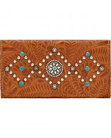 American West Canyon Creek Ladies' Golden Tan Tri-Fold Wallet