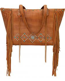 American West Golden Tan Canyon Creek Large Zip Top Tote