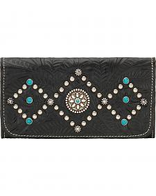 American West Canyon Creek Ladies' Black Tri-Fold Wallet