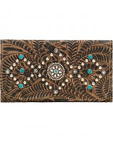 American West Canyon Creek Ladies' Rustic Brown Tri-Fold Wallet