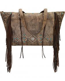American West Rustic Brown Canyon Creek Canyon Large Zip Top Tote
