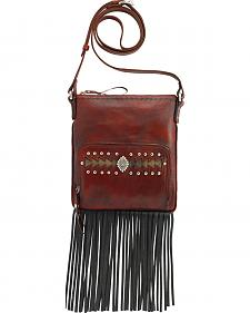 American West Moon Dancer Red Leather Crossbody Bag