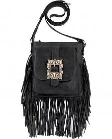 American West Eagle Black Leather Crossbody Bag
