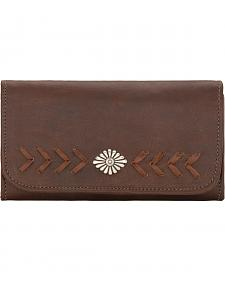 American West Mohave Canyon Ladies' Chestnut Brown Tri-Fold Wallet