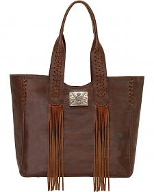 American West Chestnut Brown Mojave Canyon Large Zip Top Tote