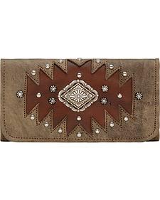 American West Rustic Brown Annie's Secret Tri-Fold Wallet