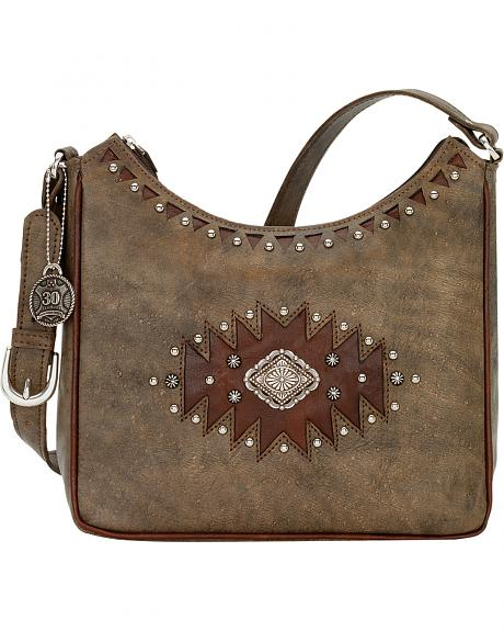 American West Annie's Secret Diamond Concho Hidden Compartment Shoulder Bag