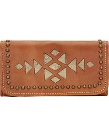 American West Golden Tan Azteca Ladies Tri-Fold Wallet