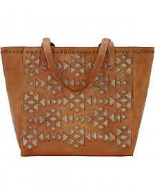 American West Azteca Golden Tan Zip Top Bucket Tote