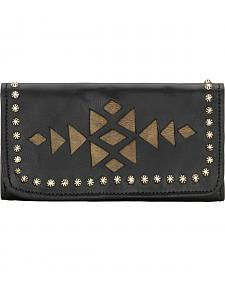 American West Black Azteca Ladies Tri-Fold Wallet