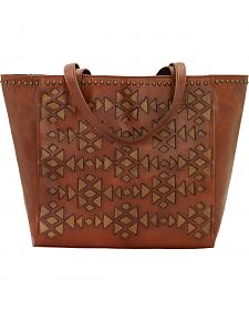American West Antique Brown Azteca Zip Top Bucket Tote