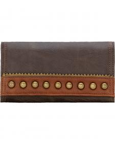 American West Bandana Oak Creek Chocolate Brown Flap Wallet