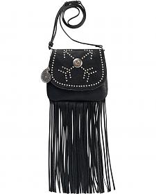 Bandana by American West Austin Black Fringe Flap Wallet Bag