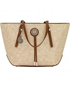 American West Bandana Dallas Cream Zip Top Tote