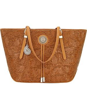 American West Bandana Dallas Tan Zip Top Tote