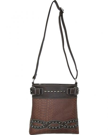 SNK-938 BN MULTI-POCKET CROSSBODY/MESSENGER BAG SNAKE W/ STONES AND STUDS AND CO