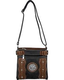 Savana Black Silver Concho Crossbody Bag