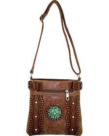 Savana Tan Turquoise Concho Crossbody Bag