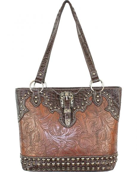 TRW-5765 BN CONCEALED CARRY TOOLED TOTE BAG W/ BUCKLE, CROCO TRIM & STUDS
