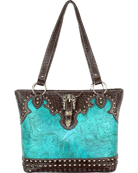 TRW-5765 TQ CONCEALED CARRY TOOLED TOTE BAG W/ BUCKLE, CROCO TRIM & STUDS