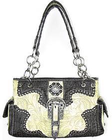 Savana Women's Ivory Concealed Carry with Tooled Design Handbag