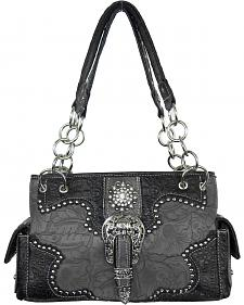 Savana Women's Grey Concealed Carry with Tooled Design Handbag
