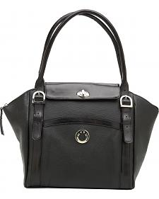 Designer Concealed Carry Black Manhattan Large Shoulder Bag