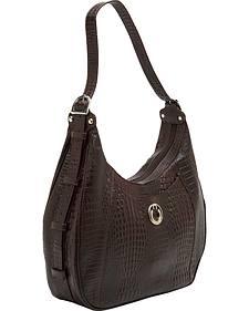 Designer Concealed Carry Brown Gator Print Santa Fe Hobo Bag