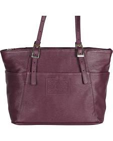 Designer Concealed Carry Plum Uptown Zip Top Tote Bag