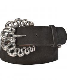 Lucchese Women's Black Suede Snake Buckle Belt