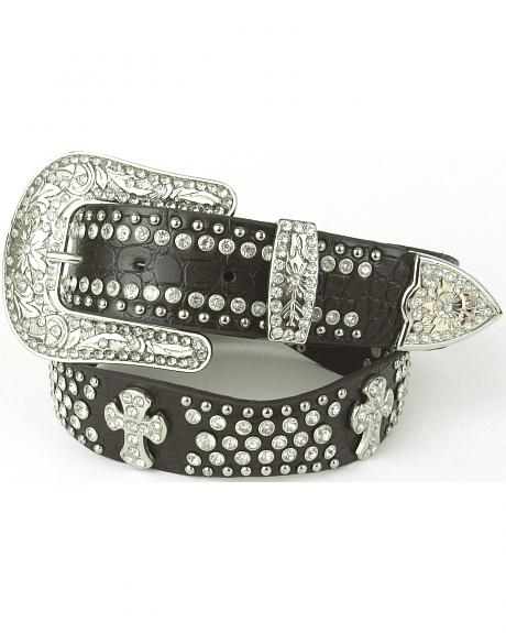B-41 BN LEATHER SCALLOPED BELT WITH RIVETED CROSS CONCHOES, STONES AND STUDS