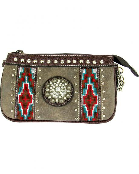 ID-787 BN CROSSBODY/WRISTLET ORGANIZER WITH TRIBAL AND CONCHO