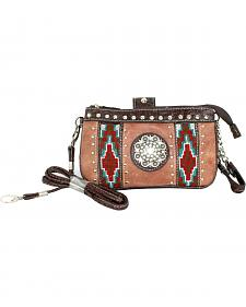 Savana Tan Aztec Medallion Crossbody and Wristlet
