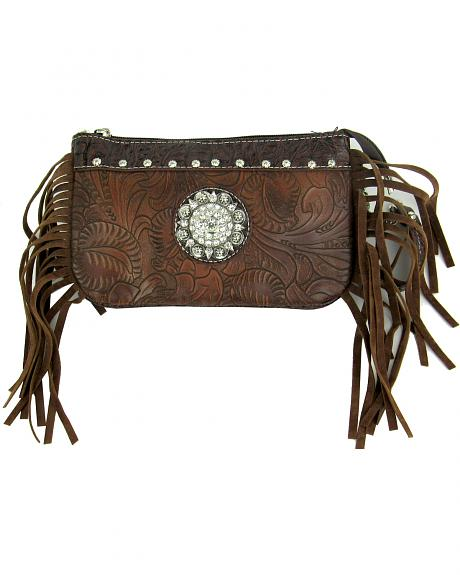 Savana Women's Brown Tooled Crossbody/Wristlet with Fringe