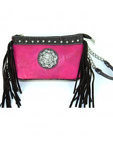 Savana Women's Pink Tooled Crossbody/Wristlet with Fringe