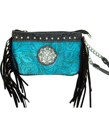 Savana Women's Turquoise Tooled Crossbody/Wristlet with Fringe
