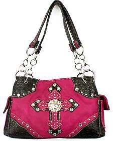 Savana Pink Double Cross Handbag
