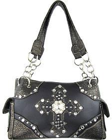 Savana Women's Double Cross Concealed Carry Handbag in Black