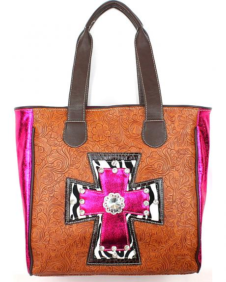 M-1016T HPK LARGE TWO HANDLED TOOLED TOTE W/ METALLIC CROSS