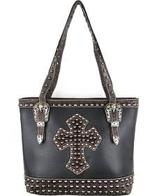 Savana Black Conceal Carry Hair-On Cross and Studs Handbag