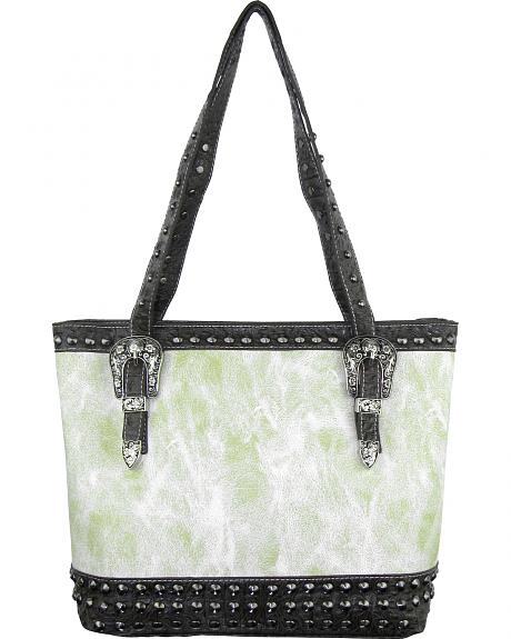 Savana Women's Ivory Concealed Carry Tote Bag with Croco Trim