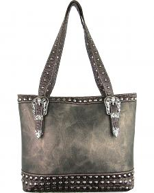 Savana Women's Pewter Concealed Carry Tote Bag with Croco Trim