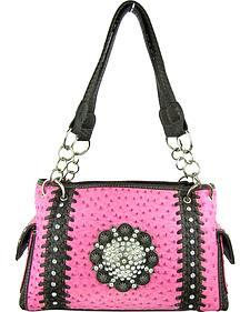 Savana Women?s Pink Concho Ostrich Concealed Carry Handbag