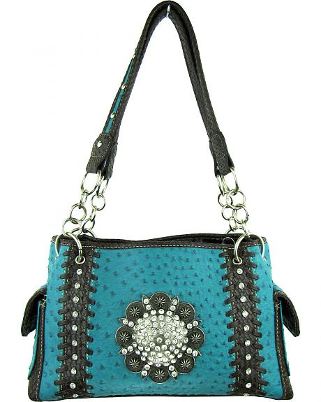 Savana Women?s Turquoise Concho Ostrich Concealed Carry Handbag