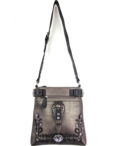 TAB-938 PT MULTI-POCKET CROSSBODY/MESSENGER BAG W/COLORED EMBROIDERY AND CONCHO